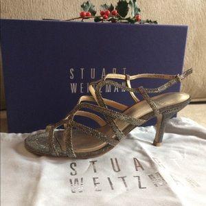 Stewart Weizmann Heels gold silver 6 Holiday Party
